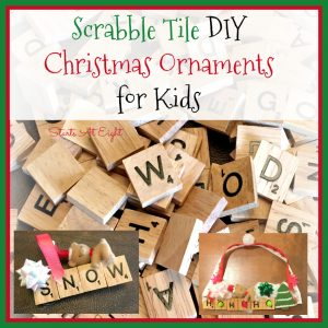 Scrabble Tile DIY Ornaments for Kids from Starts At Eight. Stock up on Scrabble Tiles and make some of these fun Scrabble Tile DIY Christmas Ornaments for Kids! Use words like snow, Merry Christmas, Jingle Bells and more!