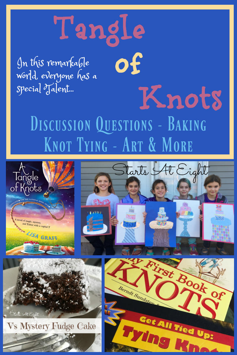 Tangle of Knots Activities from Starts At Eight includes discussion questions, study guide, vocabulary, free printables, knot tying, baking, an art project and more!