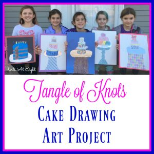 Tangle of Knots Cake Drawing Art Project from Starts At Eight. A drawing art project that includes drawing a cake, adding detailed decorations, and using colored pencils. A great project to go along with reading Tangle of Knots.