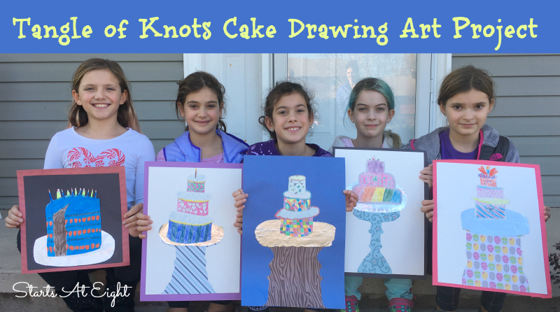 Tangle of Knots Cake Drawing Art Project from Starts At Eight