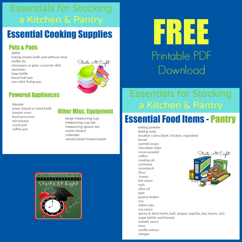 Essentials for Stocking a Kitchen & Pantry FREE PDF Printable from Starts At Eight