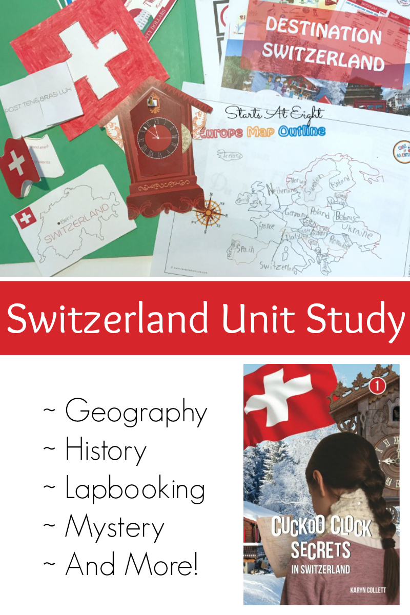 Switzerland Unit Study from Starts At Eight. Destination Switzerland from CASE OF ADVENTURE - An extensive unit study on Switzerland that includes history, geography, reading, lapbooking and so much more!