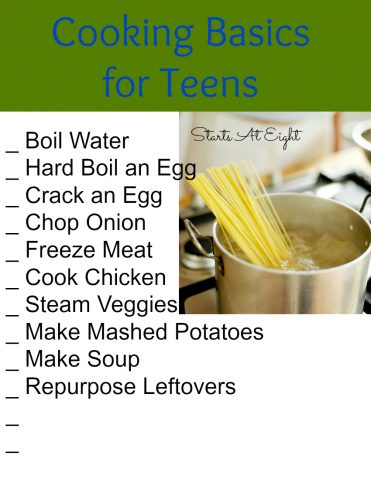 Cooking Basics for Teens FREE Printable List from Starts At Eight