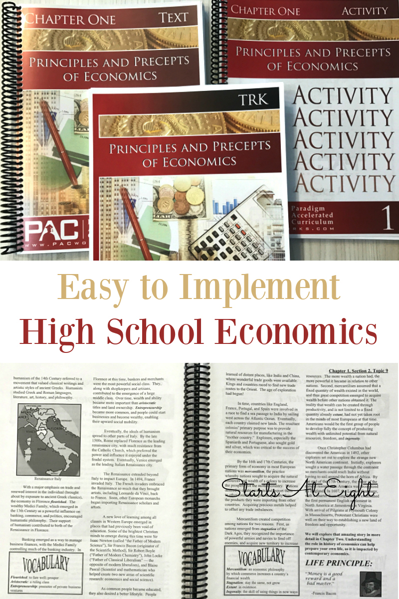 Easy to Implement High School Economics from Starts At Eight. Paradigm Accelerated High School Economics is an easy to implement curriculum that includes test, activities, quizzes, test, and answer key. Give your high school student a solid half credit high school economics curriculum at an affordable price.