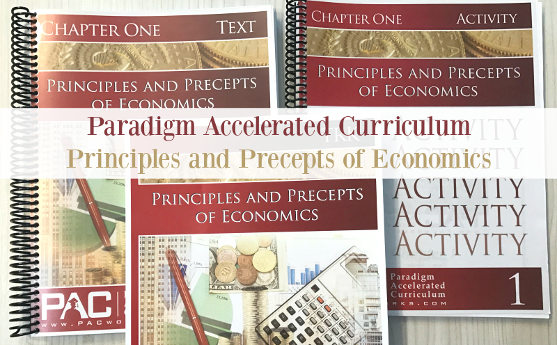 Paradigm Accelerated High School Economics is an easy to implement curriculum that includes test, activities, quizzes, test, and answer key. Give your high school student a solid half credit high school economics curriculum at an affordable price.