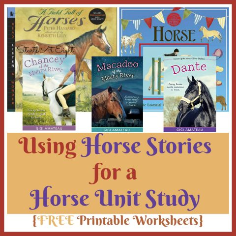 Using Horse Stories and Non-Fiction Books for a Horse Unit Study from Starts At Eight. Using Horse Stories is a great way to foster a love of learning with fun stories and hands on knowledge! Includes FREE Printable Horse Knowledge Worksheets.