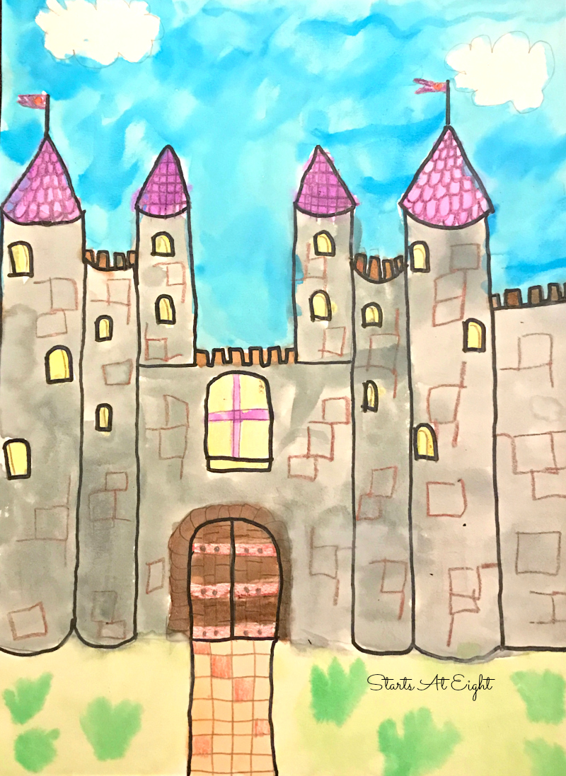 Homeschool Art Project: Draw a Castle from Starts At Eight