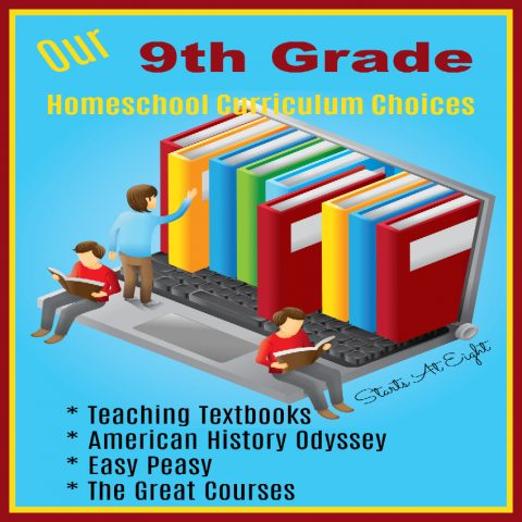 Our 9th Grade Homeschool Curriculum Choices from Starts At Eight. This is our second go around with homeschooling high school - some things have changed. Here are our 9th Grade Homeschool Curriculum Choices, including things like Teaching Textbooks, Pandia Press American History Odyssey, Easy Peasy and The Great Courses.