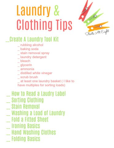 Life Skills as High School Electives: Laundry and Clothing Tips from Starts At Eight teaches our teens things like sorting, stain removal, and folding. Includes a FREE Printable List for record keeping.