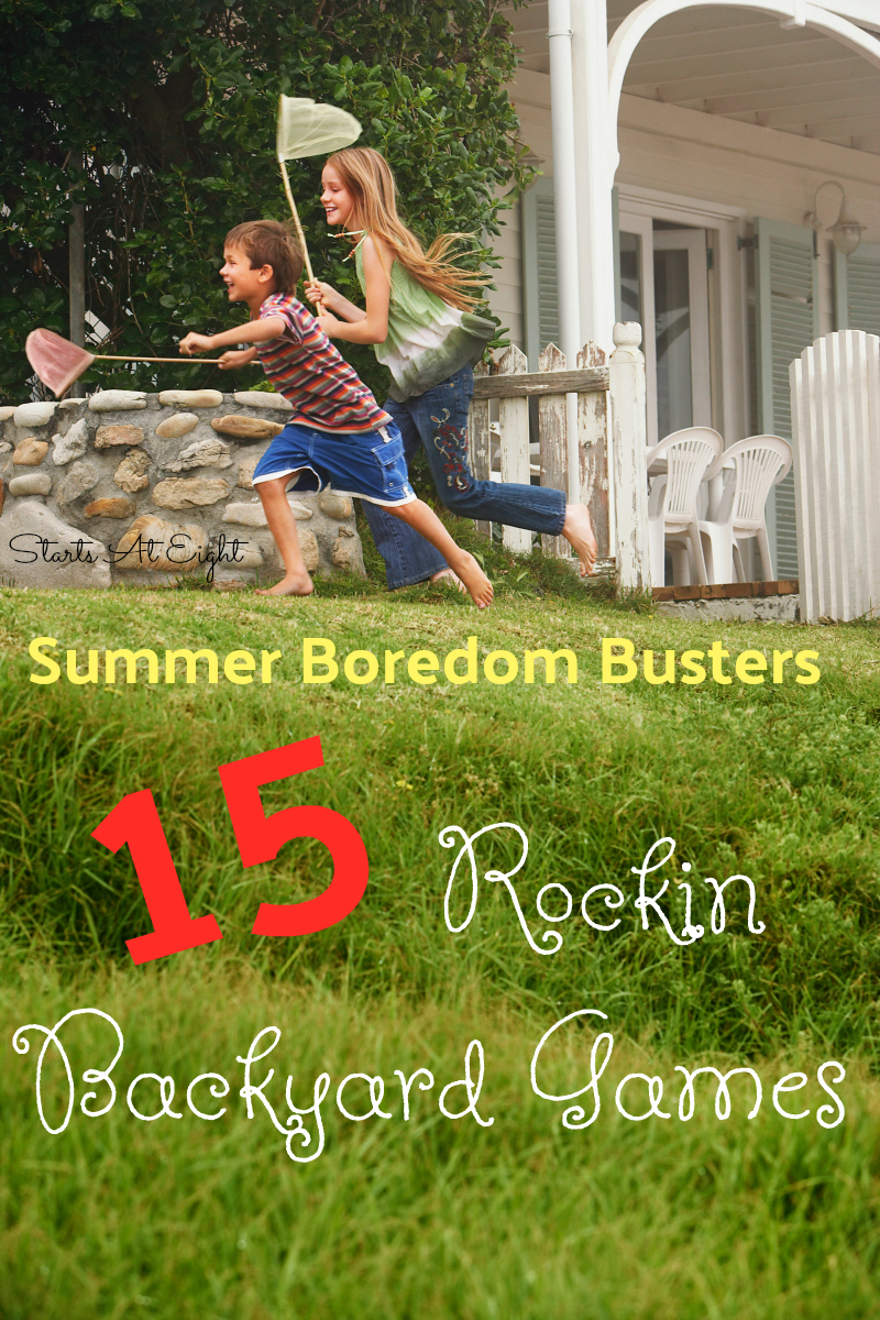 Summer Boredom Busters: 15 Rockin Backyard Games from Starts At Eight. Need to get the kids up and out this summer? Check out this list of 15 Rockin Backyard Games - from Bocce to Twister, Bean Bags and more!