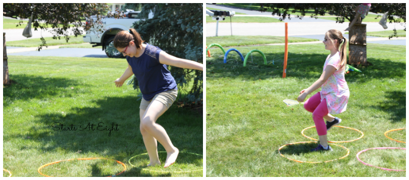 Dollar Store Obstacle Course Ideas from Starts At Eight. Using Dollar Store products we created a super fun and active birthday party with tons of obstacle course ideas put together to create one fun course!