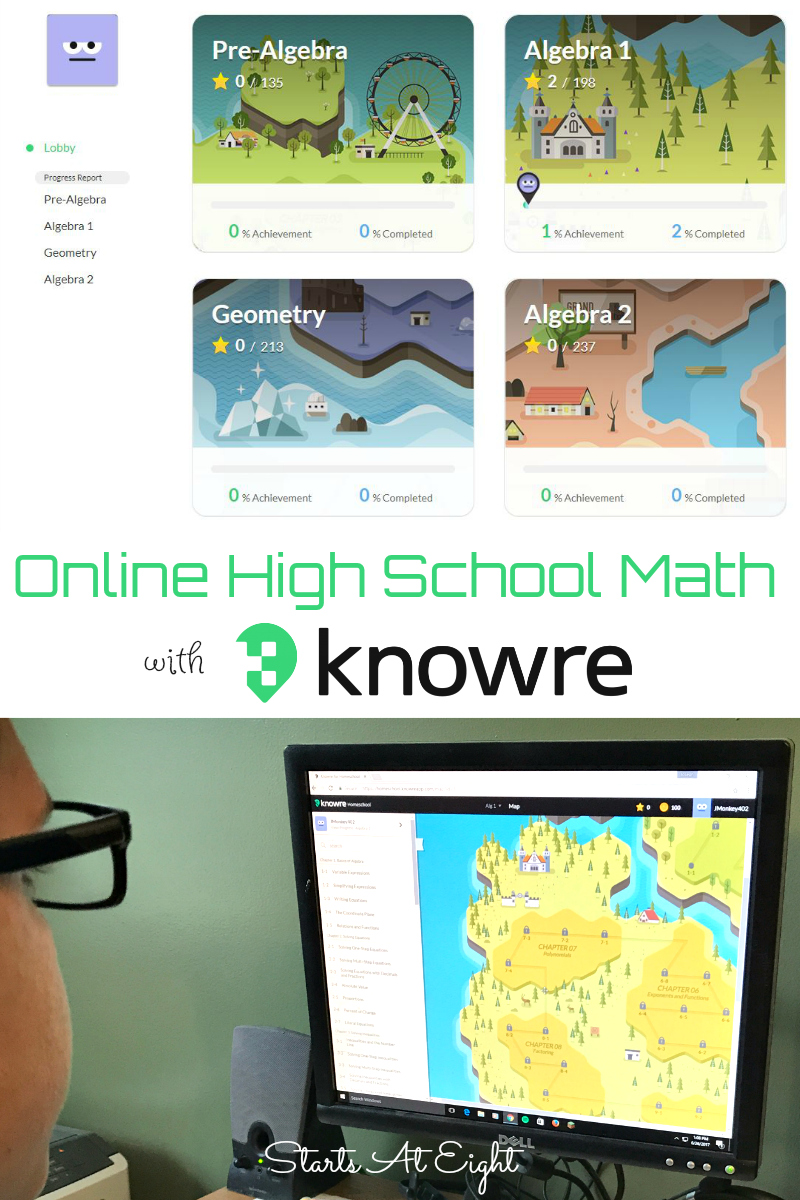 Knowre Online Math from Starts At Eight. Knowre high school online math offers upper level math instruction and practice via a fun and engaging video game style format.