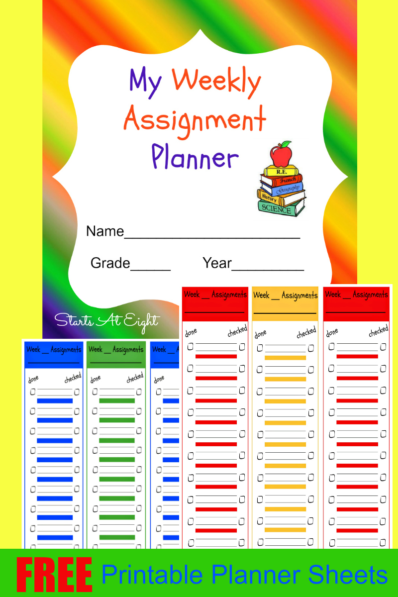 FREE Weekly Assignments Printable Planner Sheets from Starts At Eight.