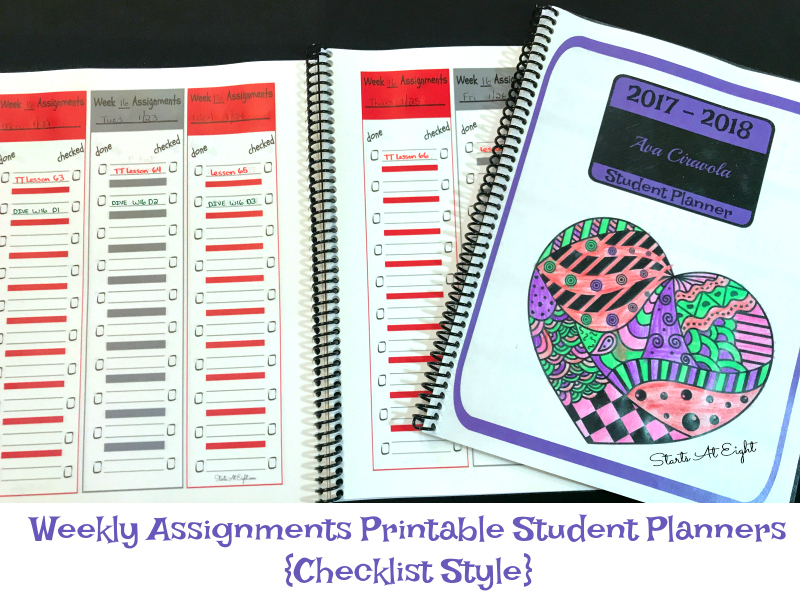 Weekly Assignments Printable Student Planners {Checklist Style} - 3 versions for one low cost!