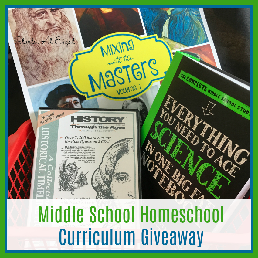 This Middle School Homeschool Curriculum Basket includes goodies from Home School in the Woods, Alisha at Masterpiece Society, and more!