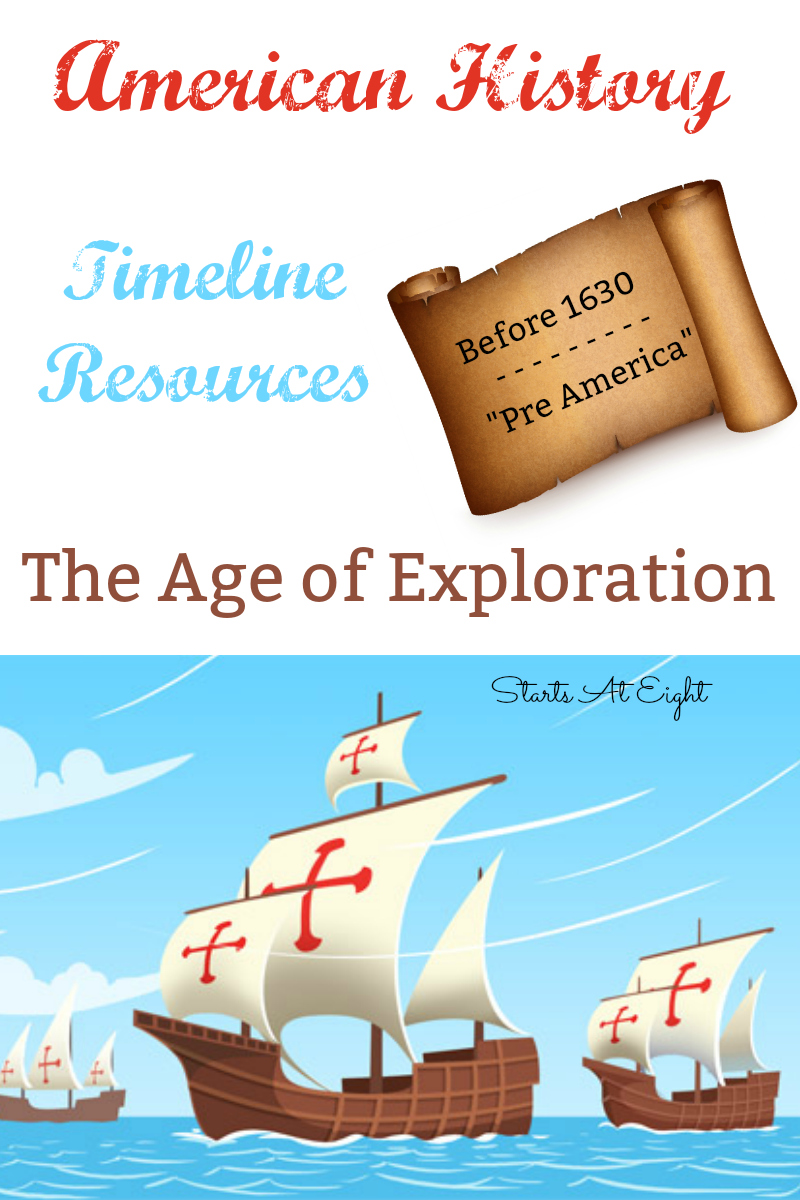 American History Timeline Resources - The Age of Exploration from Starts At Eight. American History Timeline Resources: Before 1630 - Pre America includes resources, books, videos, and projects for the Age of Exploration.