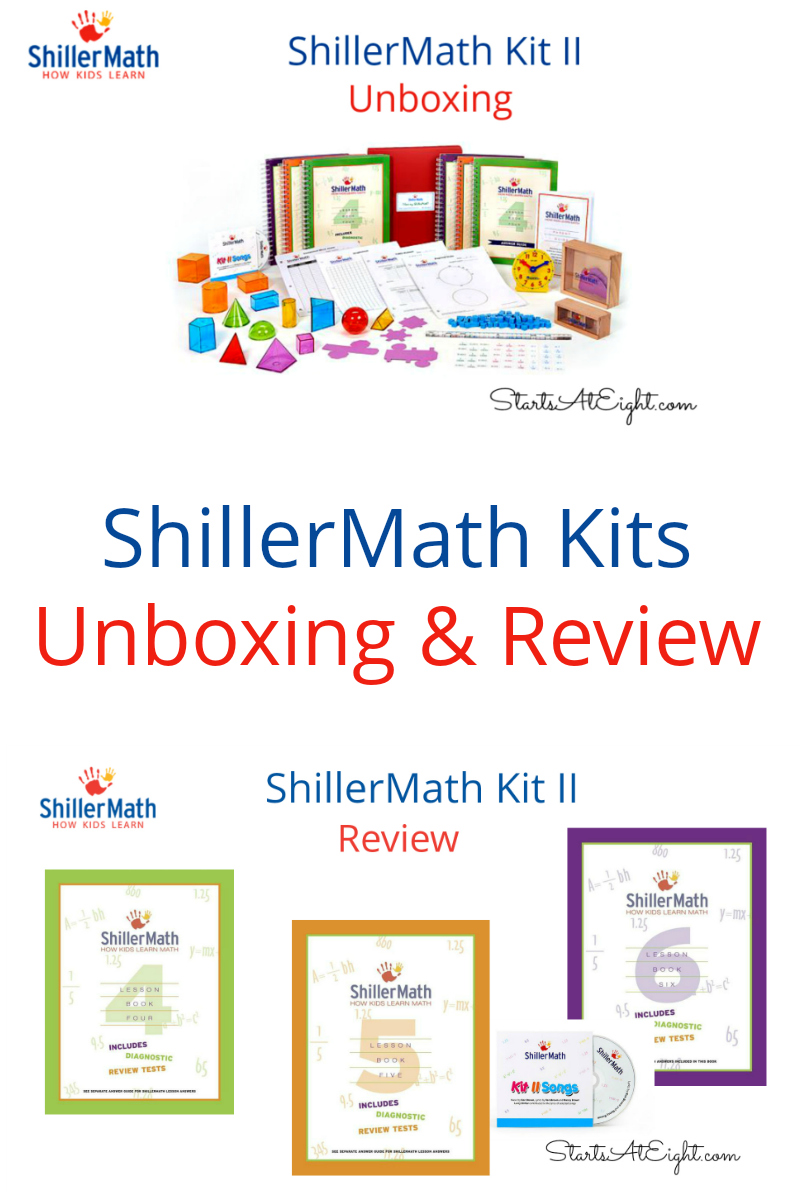 ShillerMath Review - An Unboxing & Review of Kit II from Starts At Eight. ShillerMath Review: These kits are Montessori based for preK through 8th grade. Use manipulatives, enjoy the prescripted lessons, sing the songs!