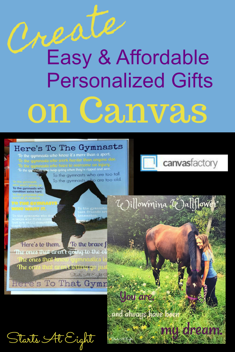 Creating Affordable Personalized Gifts on Canvas is easy and quick with Canvas Factory! Grab your cell phone, take some photos and get started! A GIVEAWAY from Starts At Eight