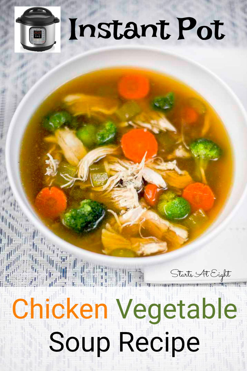 Instant Pot Chicken Vegetable Soup Recipe from Starts At Eight. This Instant Pot Chicken Vegetable Soup is easy to make & great for whole food lovers. You can also easily add chicken or rice for a more hearty meal!