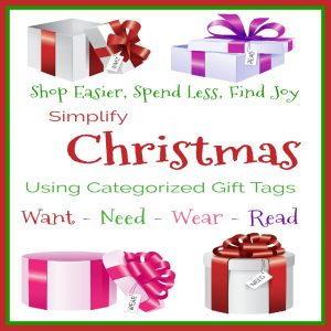 Simplify Christmas Using Categorized Gift Tags: Want - Need - Wear - Read from Starts At Eight. Christmas shopping/giving can become overwhelming, over done, and over spent. Try to Simplify Christmas Using Categorized Gift Tags: Want, Need, Wear, Read.
