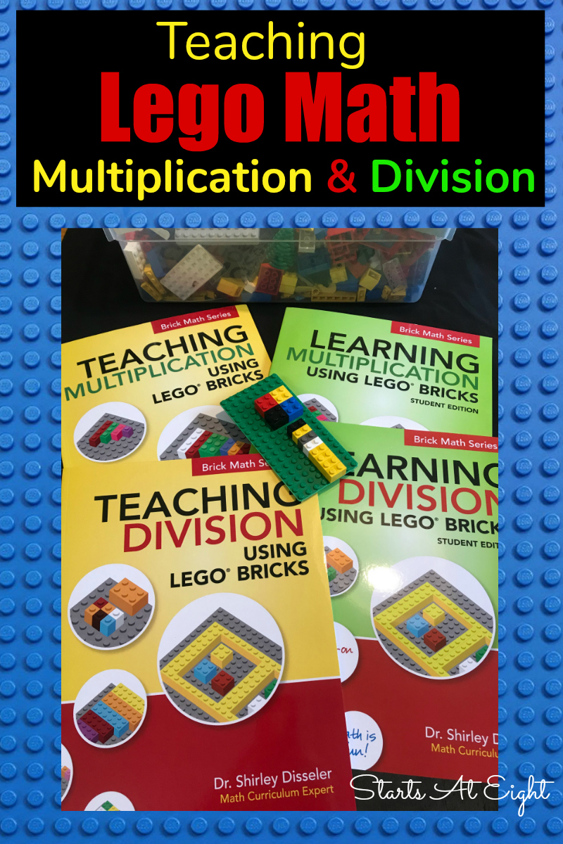 Teaching Lego Math: Multiplication & Division from Starts At Eight using Lego Bricks is a great way to get hands-on learning to teach math concepts.