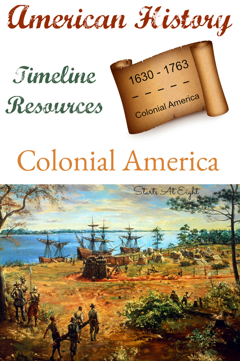 American History Timeline Resources: Colonial America covers early America including the first Thanksgiving and colonies as well as colonial life and the French and Indian War.