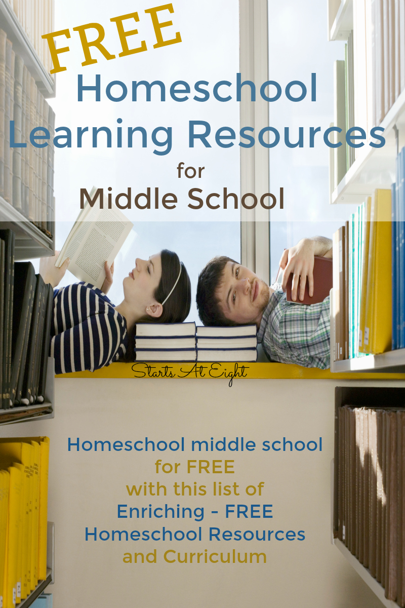 Finding FREE Homeschool Learning Resources for Middle School can be a challenge. This list from Starts At Eight can help you easily homeschool middle school for FREE!