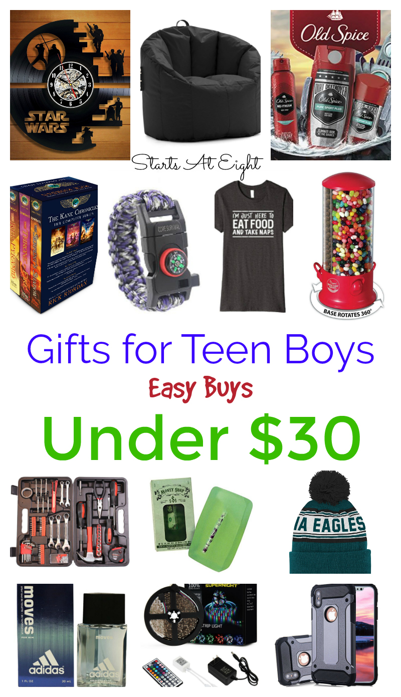 Easy Buys Under $30: Gifts for Teen Boys from Starts At Eight. Pick up something meaningful, enjoyable, and wallet friendly for the teen boy in your life!