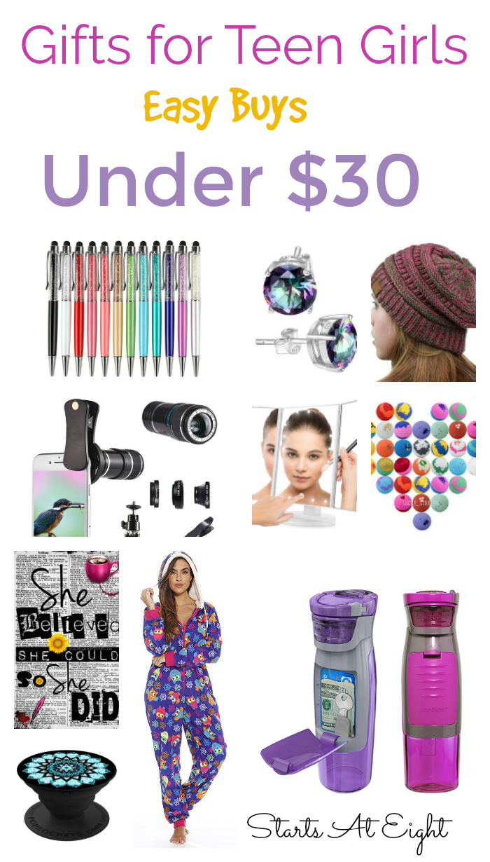 Gifts for Teen Girls: Easy Buys for Under $30 from Starts At Eight: Got teen girls? Granddaughters? Nieces? This is a collection of easy to access, easy to buy gifts for teen girls for $30 or less!