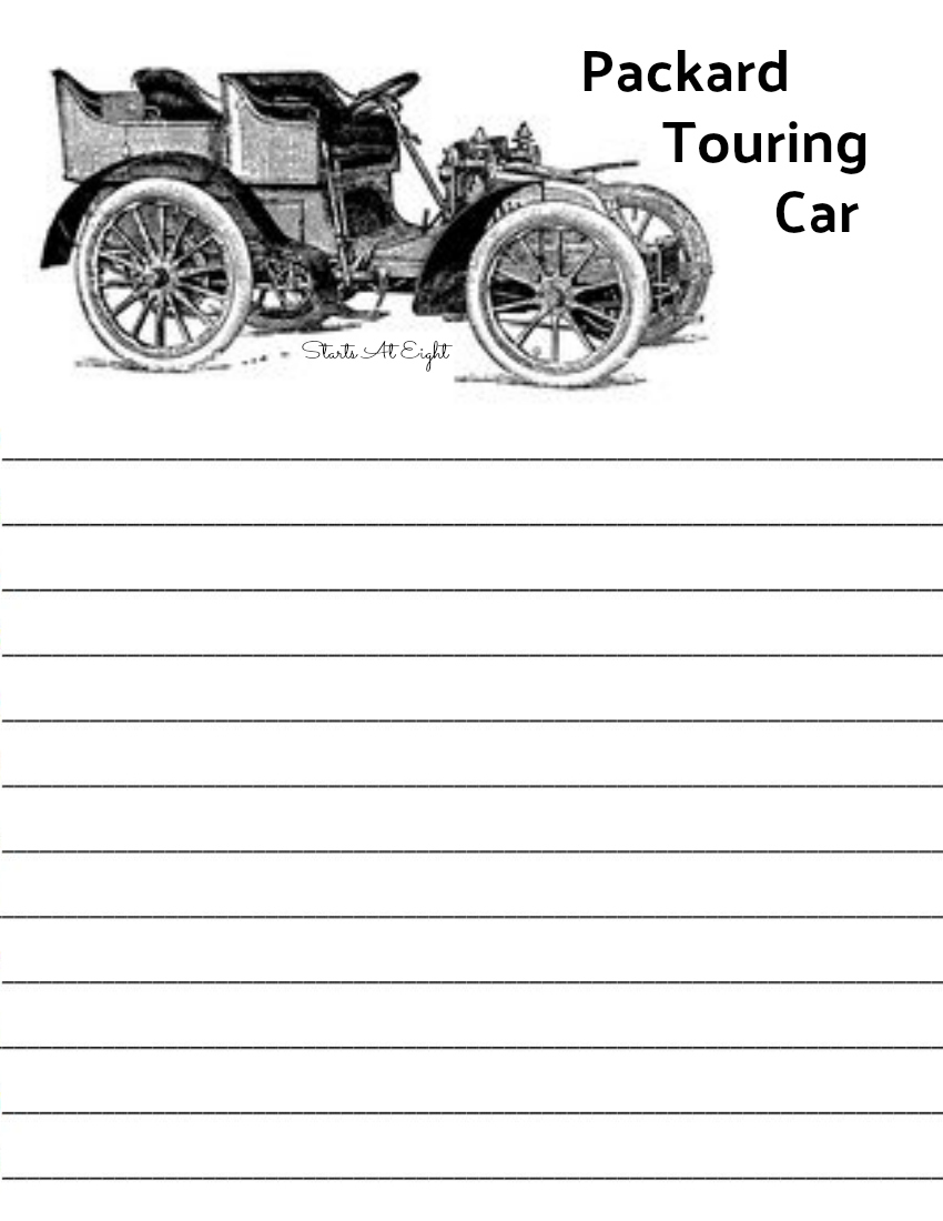 Packard Touring Car Notebooking Page from Starts At Eight