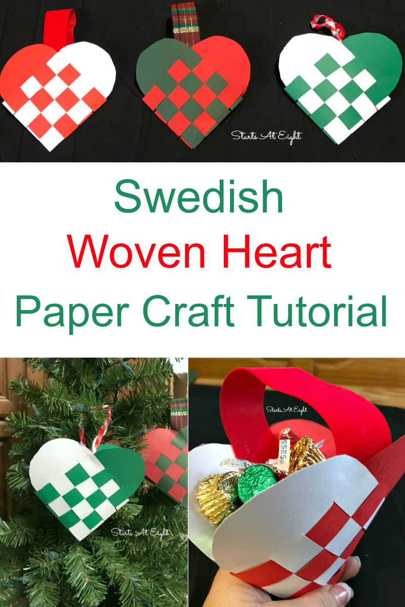 Christmas Crafts: Swedish Woven Heart Paper Craft Tutorial. Grab some card stock, ribbon, scissors, and glue to craft a woven heart basket or ornament.