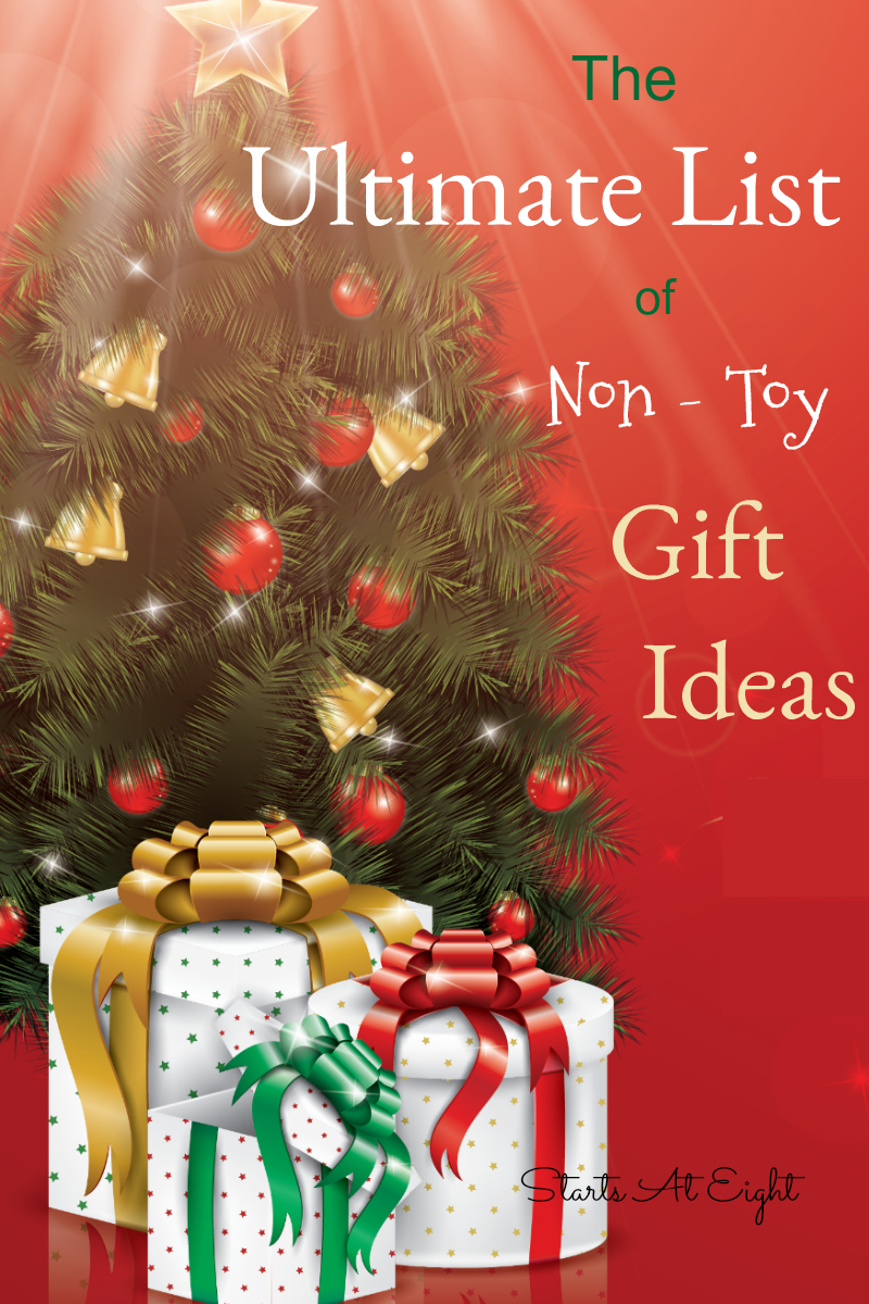 The Ultimate List of Non Toy Gift Ideas from Starts At Eight. Maximize the memories with activity gifts like ice skating or sewing classes, board games, gift cards and family trips and more!