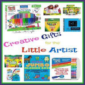 Creative Gifts for the Little Artist from Starts At Eight includes mess free and little hand friendly item suggestions. Paint, marker, crayon and more!
