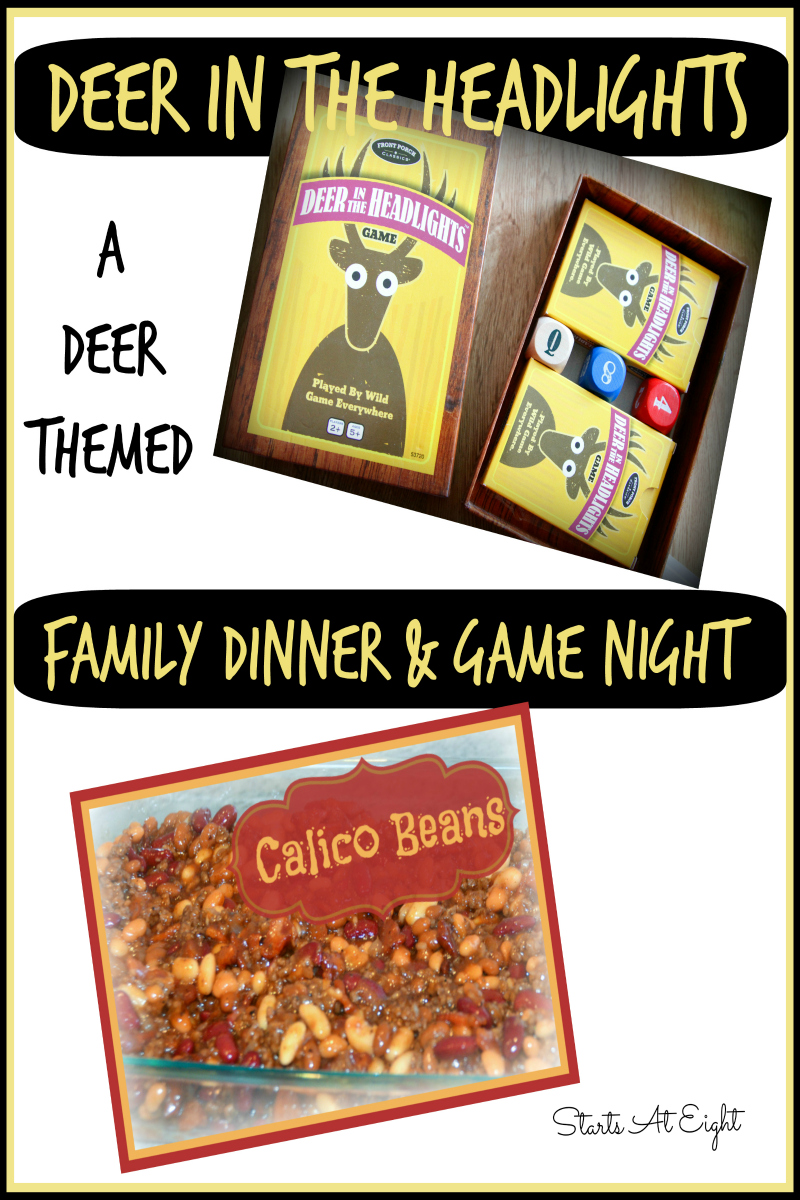 Deer in the Headlights - Family Game Night and Dinner Plans from Starts At Eight includes an unusual and fun games as well as a dinner recipe to go along with it!
