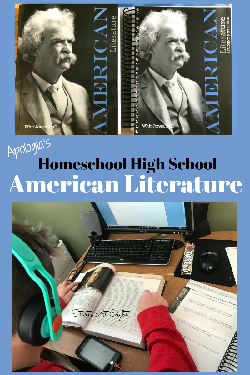 Apologia's Homeschool High School American Literature Review from Starts At Eight. I'd like to introduce you to Apologia's Homeschool High School American Literature curriculum which is a full year of American Literature for High School.