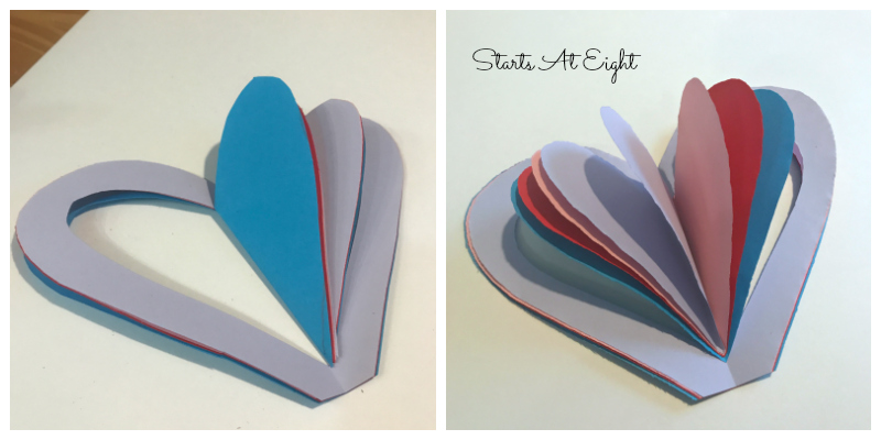 DIY Valentine: Paper Heart Books from Starts At Eight are fun and easy to create and offer a variety of creative variances to alter colors and length of book.