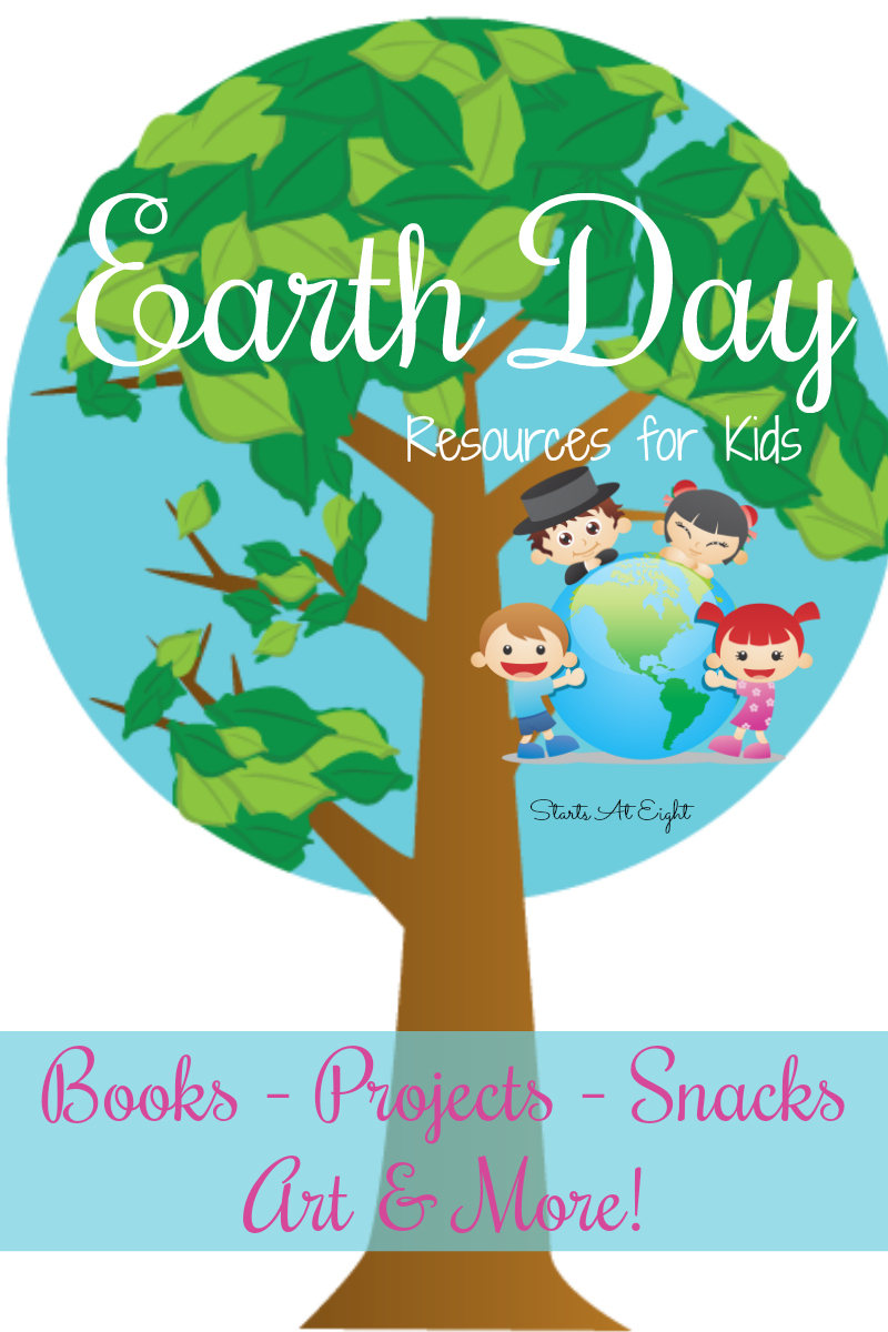 Earth Day Resources for Kids from Starts At Eight. This mega list of earth day resources includes books, printables, activities, crafts, snacks, and service projects to help kids learn about the earth and how they can help preserve it!