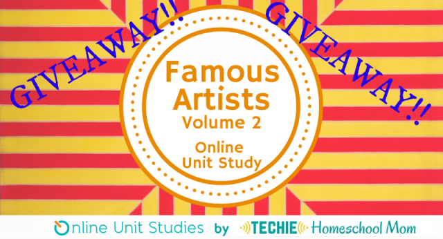 GIVEAWAY!!! Famous Artists Online Unit Study Volume 2 is a way to study the lives and styles of 9 famous artists via the web! No additional books needed!