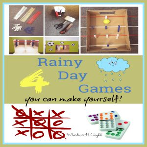 4 Rainy Day Games You Can Make Yourself (from Starts At Eight) From full creations to variations of things you may already have. Run the rainy day blues away with fun indoor games!