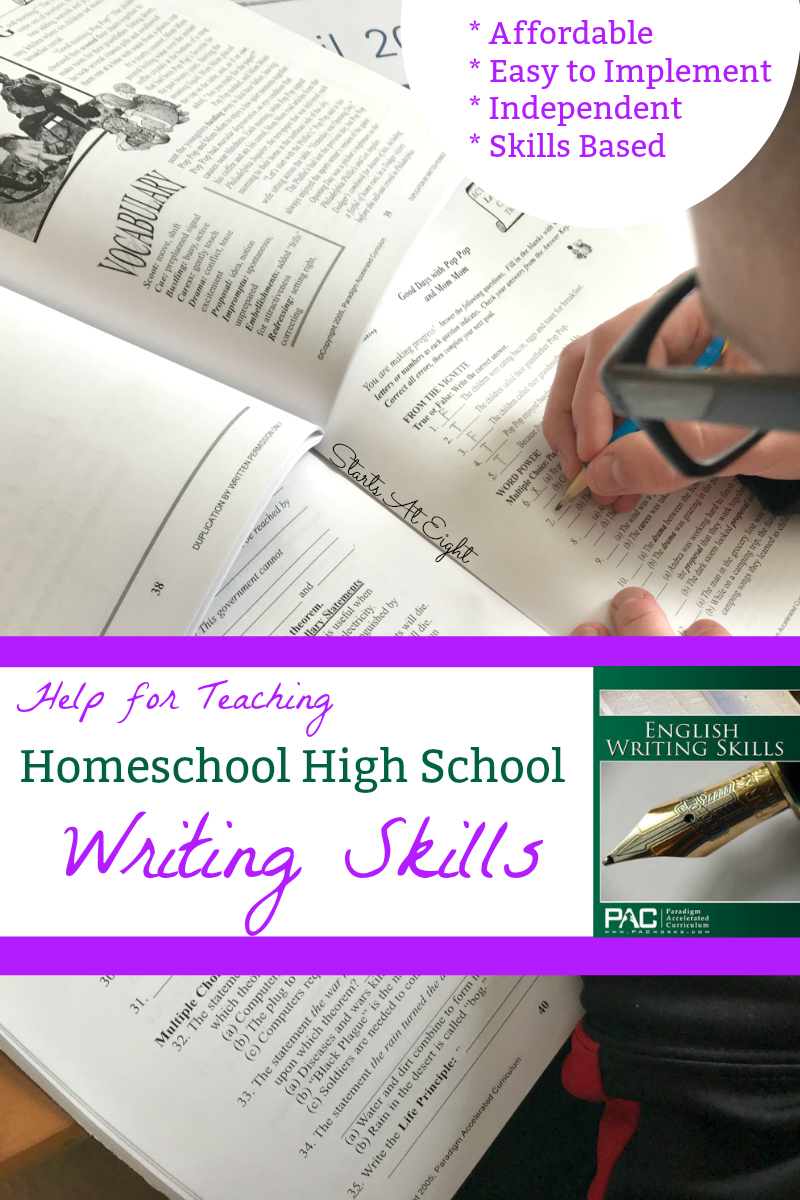 Help for Teaching Homeschool High School Writing Skills from Starts At Eight is as easy as picking up Paradigm Accelerate Curriculum's High School Writing Course: English Writing Skills. It's easy to implement, self-directed and affordable!