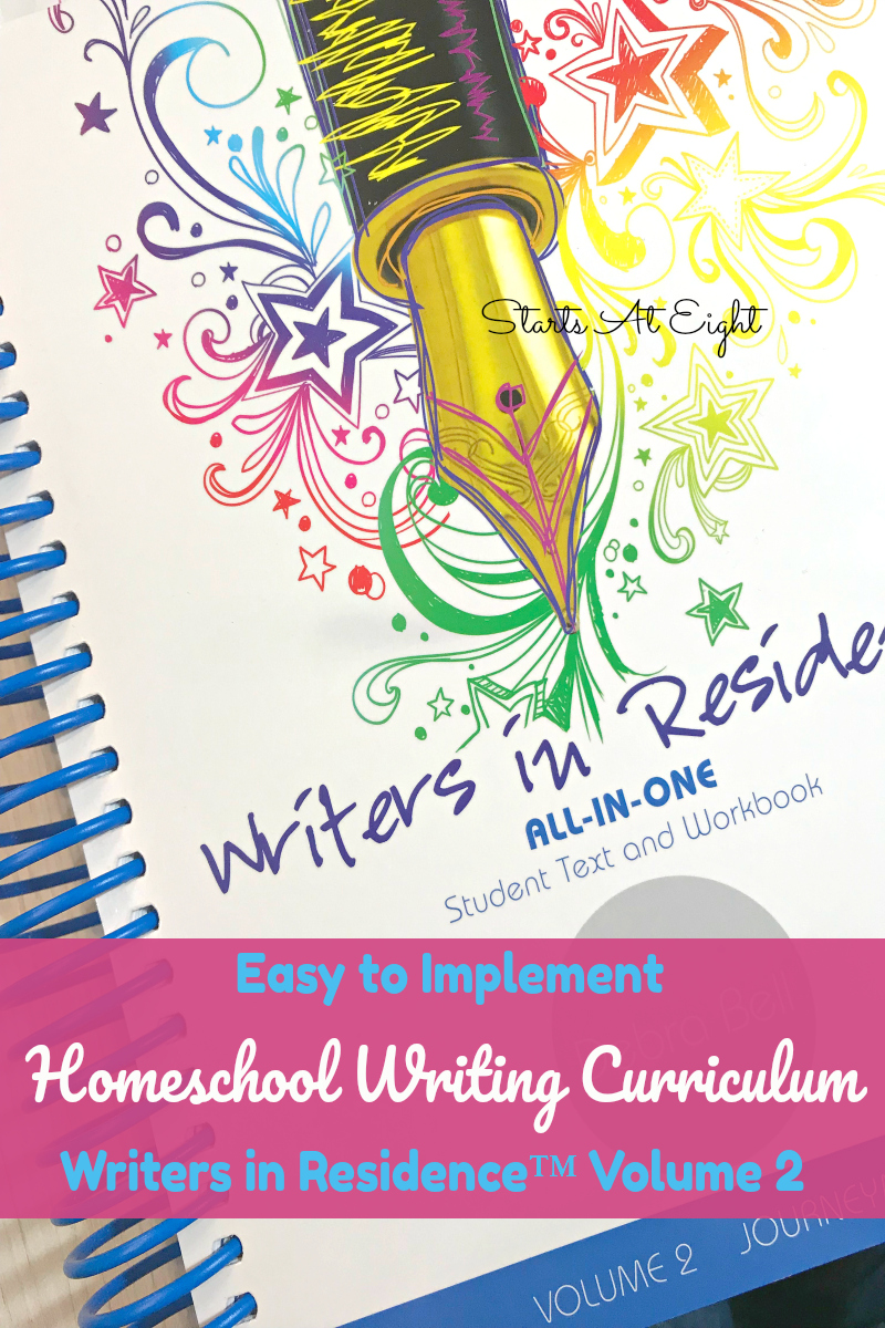Easy to Implement Homeschool Writing Curriculum: A Writers in Residence™ Volume 2 Review from Starts At Eight. This homeschool writing curriculum offers a laid out schedule, easy grading rubrics, real life examples, step by step writing improvement techniques, and even work with English grammar skills.