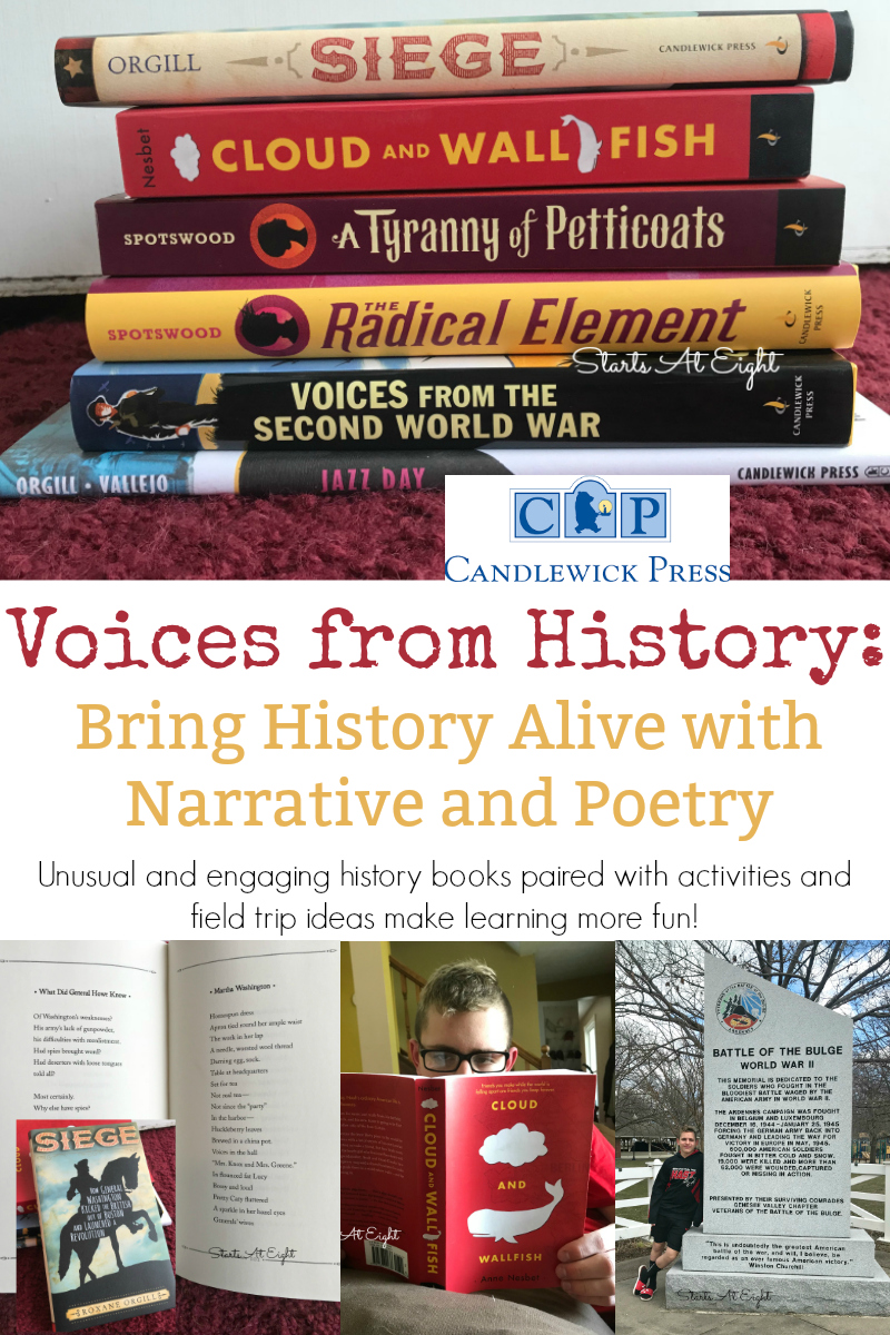 Voices from History: Bring History Alive with Narrative and Poetry from Starts At Eight- This is a collection of fabulous first hand or retold stories of moments in history such as WWII, jazz music and women in history with corresponding extension activities and field trip ideas. Great for a homeschool unit study!