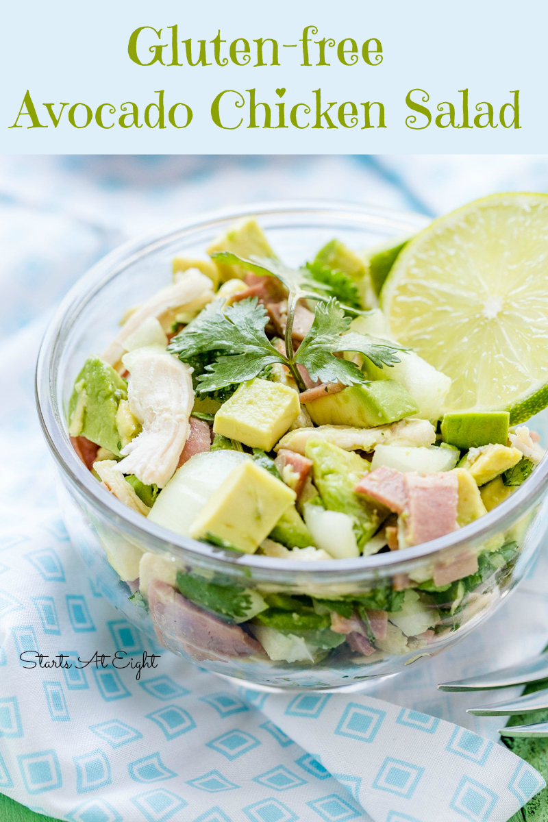 Gluten-free Avocado Chicken Salad from Starts At Eight. This Avocado Chicken Salad recipe is a modern twist on the classic summer staple and is packed with nutrition and flavor. It's also easy to make, gluten-free, grain-free, Paleo friendly and versatile!