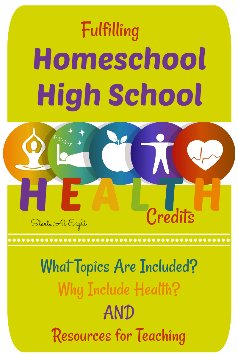 Fulfilling Homeschool High School Health Credits from Starts At Eight is a how to guide including why to teach high school health, what topics are covered, and an extensive list of both secular and faith based homeschool high school health options.