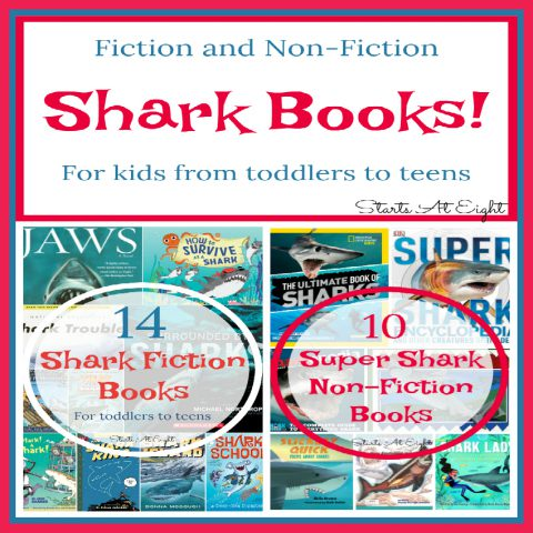 This Super Shark Books Collection consists of books we have loved throughout the years as my son has grown from toddler to teen. Shark fiction, shark non-fiction, comics, poetry and more. If you have a shark lover you will want to Pin this one for later!