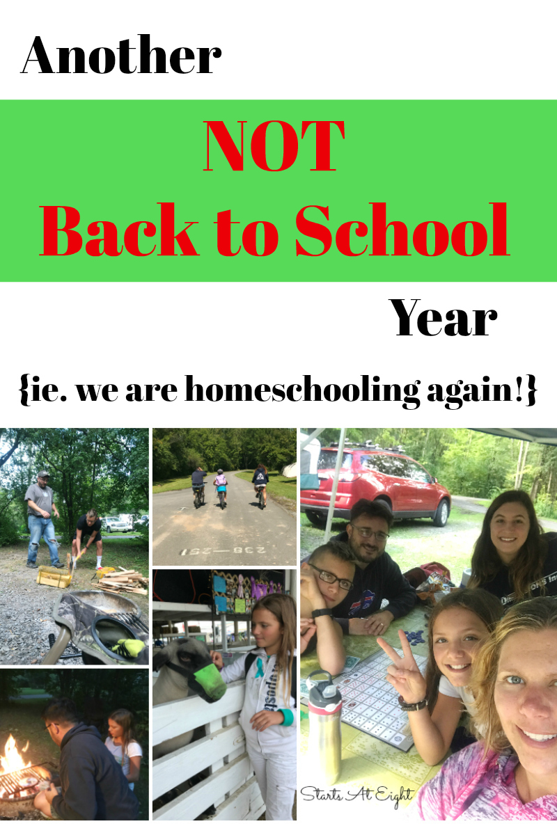 Another Not Back to School Year {ie. we are homeschooling again!} from Starts At Eight is about the joys and benefits of homeschooling our children instead of sending them off to school each year.