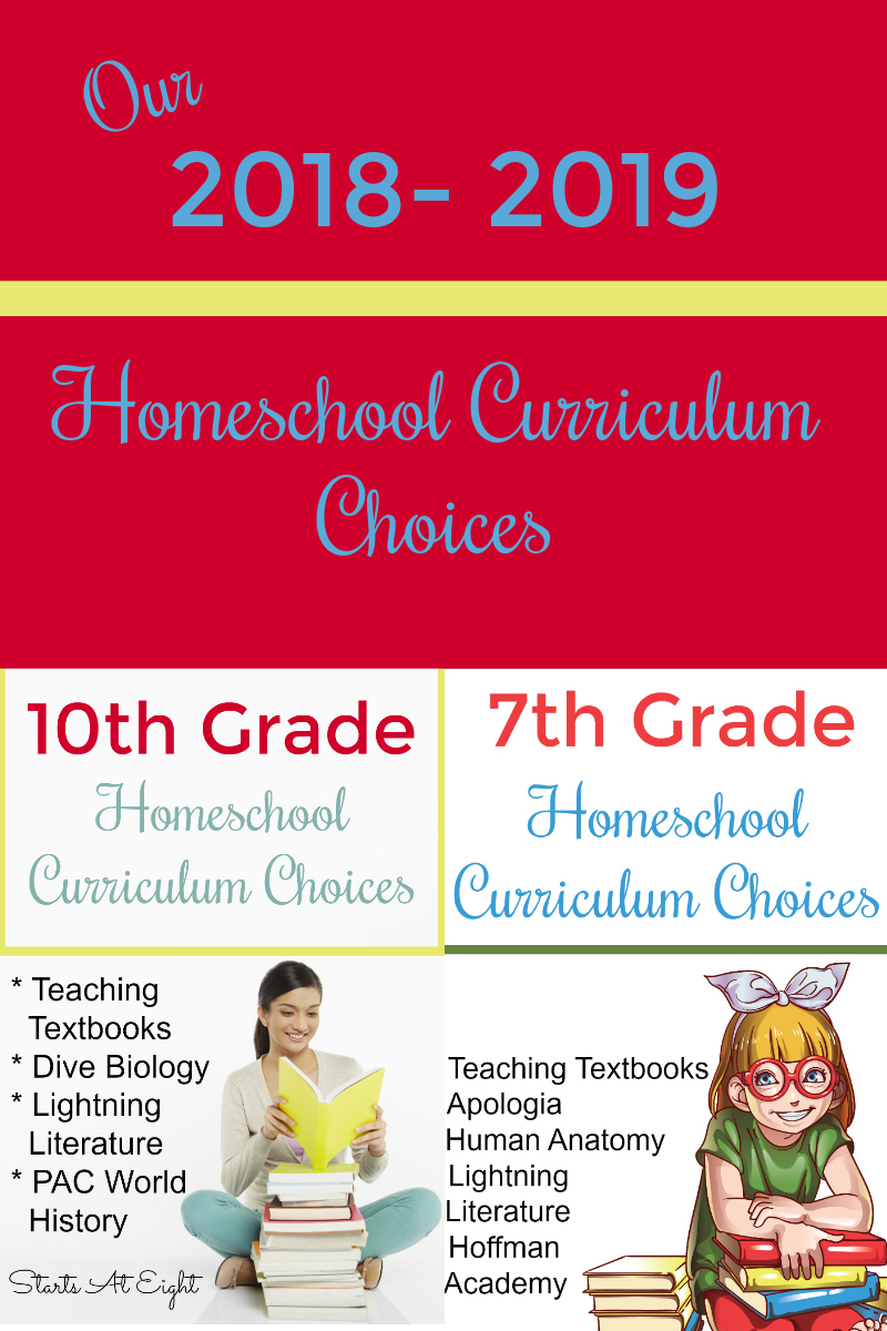Our 2018 - 2019 Homeschool Curriculum Choices (10th, 7th) from Starts At Eight