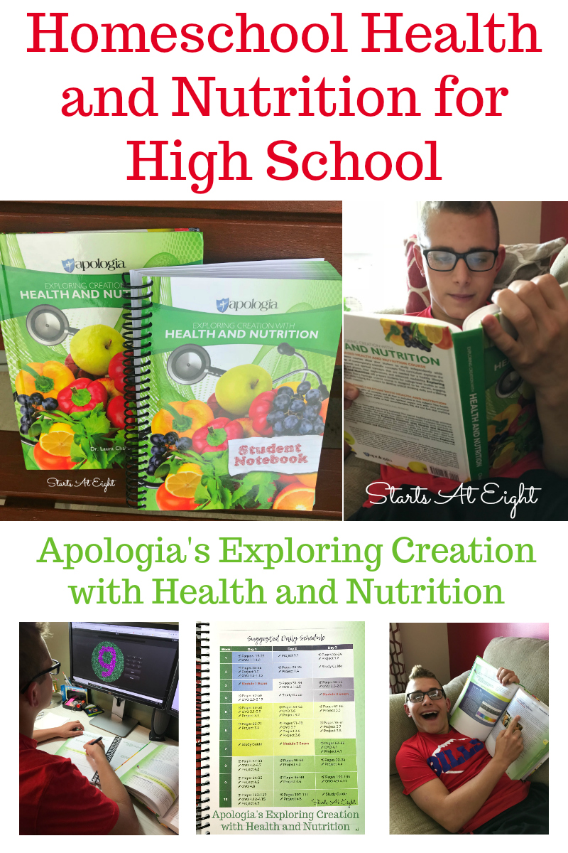 Homeschool Health and Nutrition for High School using Apologia's Exploring Creation with Health and Nutrition. A science course that has it all! Both physical and emotional health with practical tips and activities to help teens learn about health and nutrition.