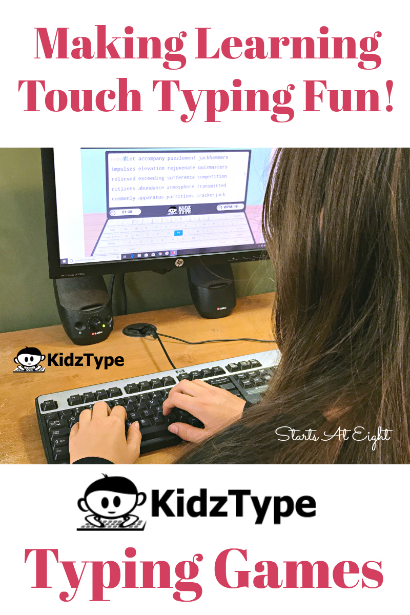 KidzType Typing Games make learning touch typing fun! This is a free site that uses a step by step process, fun cartoons, and games to help kids learn to type. Review by Heidi at Starts At Eight.