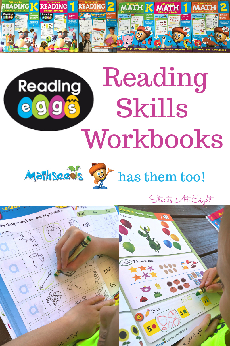 Reading Eggs Reading Skills Workbooks {Mathseeds has them too!} Reading Eggs popular learning site now has workbooks too! Workbooks to teach reading skills and workbooks from the Mathseeds portion of their site for math skills! It's a great way to help your children learn in a fluid manner both on and offline! - A Review from Starts At Eight